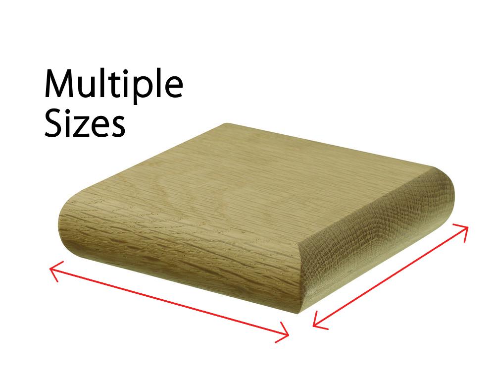 Oak Square Flat Newel Cladding Cap - Various Sizes 1